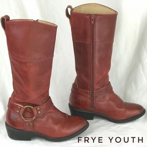 FRYE Kids Phillip Harness Boots Size Youth 12.5